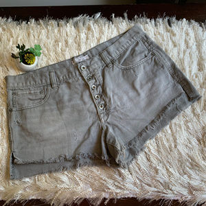 Free People Gray High Rise Cut Off Jean Shorts